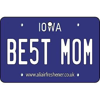 Iowa - Best Mom License Plate Car Air Freshener