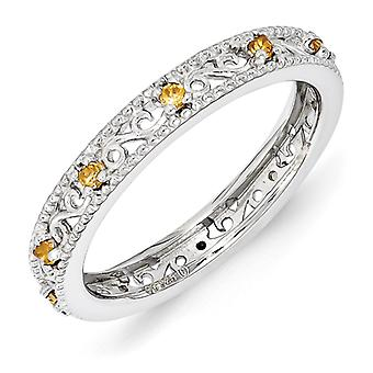 3mm Sterling Silver Polished Prong set Rhodium-plated Stackable Expressions Citrine Ring - Ring Size: 5 to 10