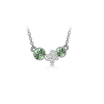 Womens Silver Necklace Green Drop Chain Flower Butterfly Charm