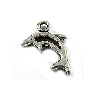 Packet 30 x Antique Silver Tibetan 13mm Dolphin Charm/Pendant ZX13865