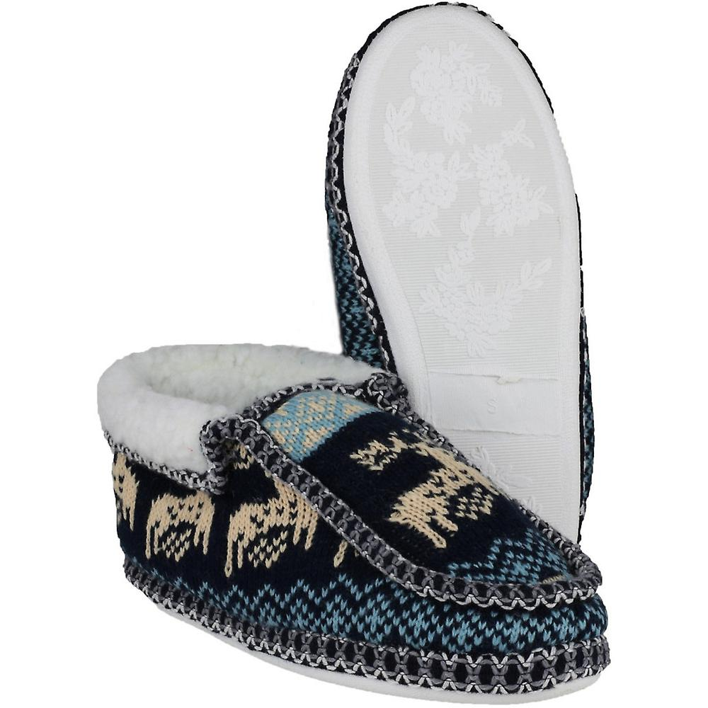 Norway Slip on Divaz Moccasin Slippers Womens Textile Ladies wSUq6Maqf