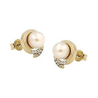 Earrings gold 375 connector bead with Zircons, 9 KT GOLD