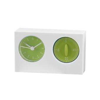 Giftery White/Green Kitchen Timer And Clock