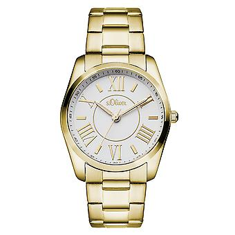 s.Oliver senhoras pulso relógio quartzo analógico IP ouro MQR-SO-15114