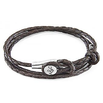 Anchor and Crew Dundee Silver and Leather Bracelet - Dark Brown