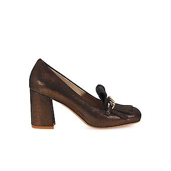 FRANCO COLLI BRONZE HEELED LOAFERS