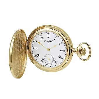 Woodford Gold Plated Polished Full Hunter Mechanical Pocket Watch - Gold