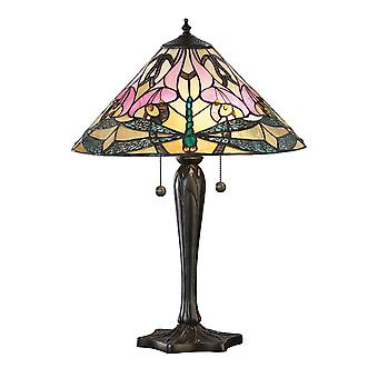 Interiors 1900 Ashton Pink Lilly & Dragonfly Tiffany Large Table Lamp