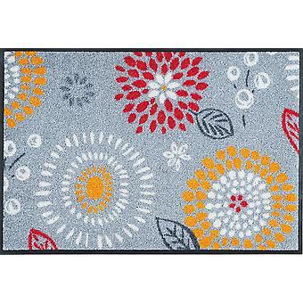 lavado + seco tapete felpudo de Mille Fiori flor lavable gris