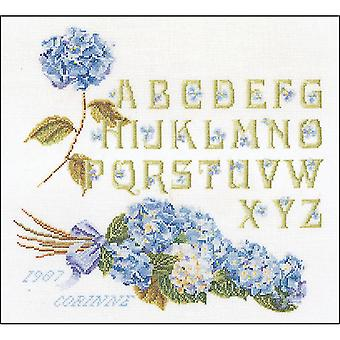 Hydrangea Alphabet On Aida Counted Cross Stitch Kit-13.25