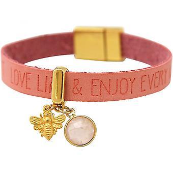 -925 zilver verguld - wensen - roze roze - magnetisch slot - armband - BEE - bee - Rose Quartz-