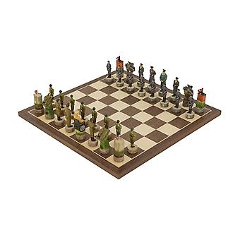 The Hitler Vs Roosvelt, second world war hand painted themed Chess set by Italfama