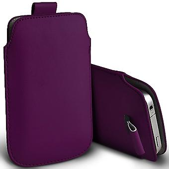 ONX3 (Dark Purple) Premium Slip In Pull Tab Sleeve Faux Leather Pouch Case Cover For BLU S1 [ XXL ]