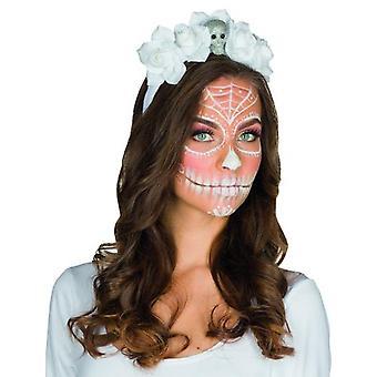 Rosas de cráneo blanco muerte venda blanca accesorios día de Halloween de los muertos