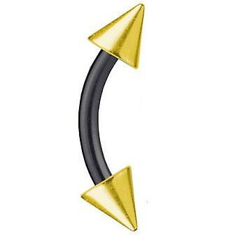 Buet Barbell tofarvet Piercing sorte Titanium 1,6 mm, forgyldt Spike | 6-16 mm