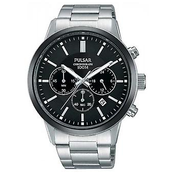Pulsar Mens Stainless Steel Black Chronograph Dial PT3747X1 Watch