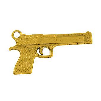 Packet 5 x Antique Gold Tibetan 35mm Gun Charm/Pendant HA08380