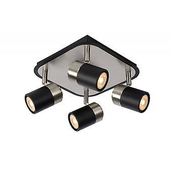 Lucide Lennert Modern metall svart och Satin Chrome Spot taklampa