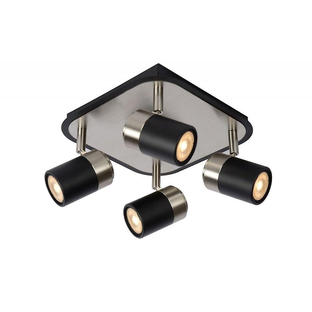 Lucide Lennert Modern  Metal noir And Satin Chrome Ceiling Spot lumière