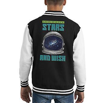 Aan mensen die omhoog naar de sterren Astonauts helm Pixel Art Kid's Varsity Jacket kijken
