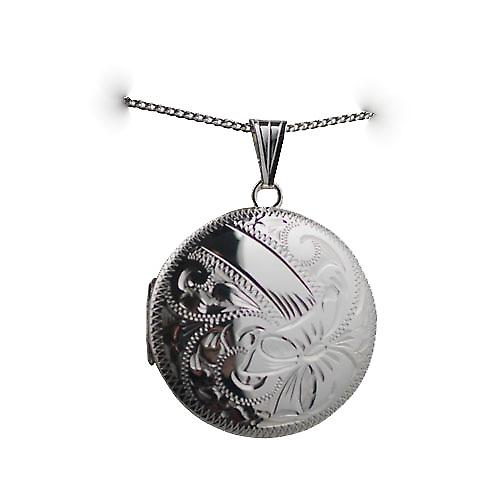 Silver 29mm hand engraved round Locket with a curb chain