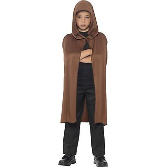 Childrens Boys Girls Brown Hooded Cape Fancy Dress Accessory