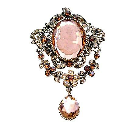 Victorian Cameo Lady Antique Gold Copper with Smoked Topaz Brooch