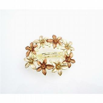 Gold Barrette Champagne & Copper Enamel Flower Wedding Hair Clip