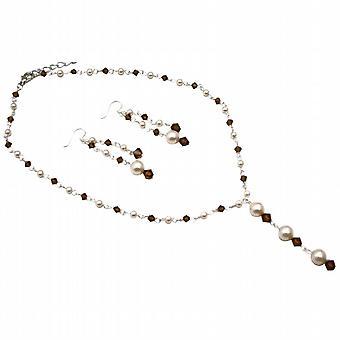 Topaz kristallen Y-collier Set bruiloft ivoor Swarovski parels gerookt