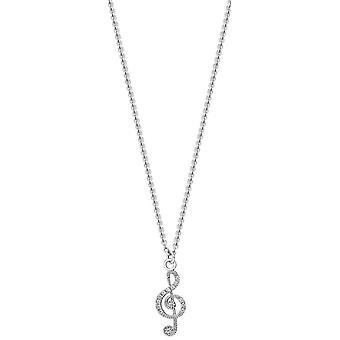 Bella Cubic Zirconia Set Treble Clef Pendant - Silver