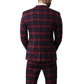 Gebruik van Londen Mens donkerrood Tartan Suit vest Slim Fit Notch revers