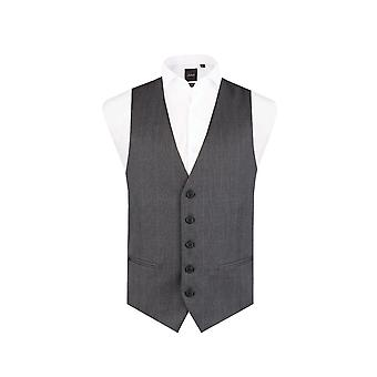Dobell Mens Charcoal Prince of Wales Check Waistcoat Slim Fit 5 Button
