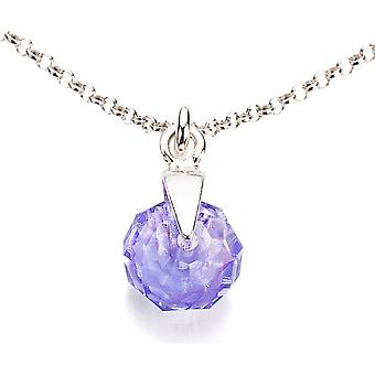 Ah! Jewellery Tanzanite Briolette Crystals From Swarovski Necklace, Sterling Silver