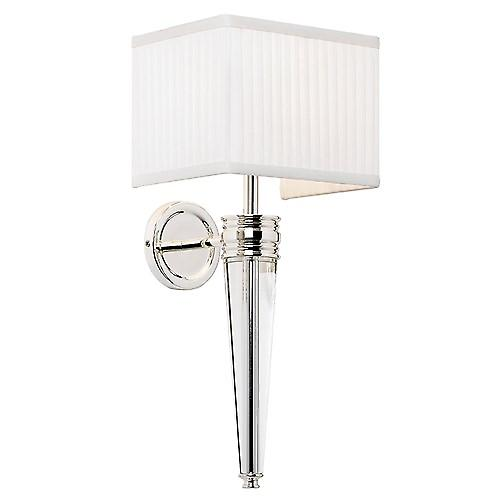 Endon BOUCHET-1WBSIL Bouchet Contemporary Crystal Wall Light With Pleated Fabric Shade
