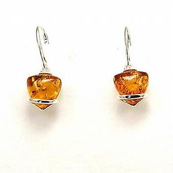 The Olivia Collection Sterling Silver Amber Heart Drop Earrings