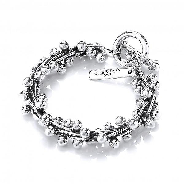 Cavendish French Heavy Sterling Silver Oxidised Peppercorn Bracelet