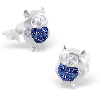 Sterling Silver and Crystal Owl Stud Earrings