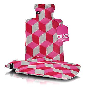 Duo Pink Cubes Designer Knit 2L Hot Water Bottle