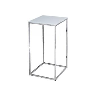 Gillmore Space White Glass And Silver Metal Contemporary Square Lamp Table
