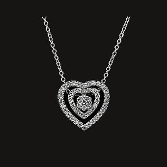 18K White Gold Plated Twin Heart 51 Pieces Swiss Cubic Zirconia Pendant