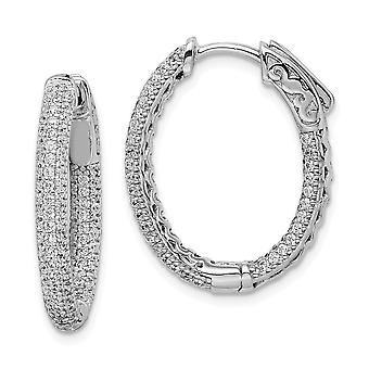 925 Sterling Silver Pave Polished Hinged hoop Safety clasp Rhodium-plated Rhodium Plated With Cubic Zirconia Hinged Oval