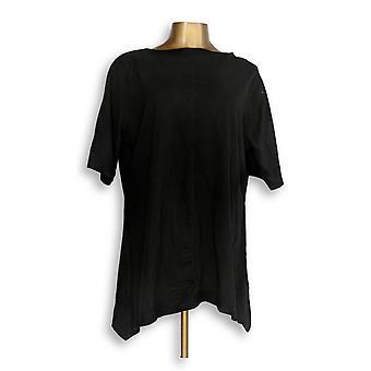 Denim & Co. Women's Plus Top Bateau-Neck Elbow-Slve Trapeze Black A351569