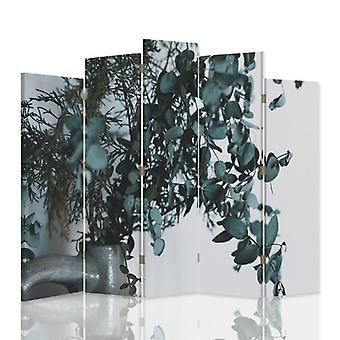 Decorative Room Divider, 5 Panels, Double-Sided, 360 ° Rotatable Canvas, Plants In A Vase
