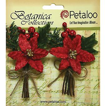 Botanica Holiday Pine Picks 2/Pkg-W/Red Poinsettia & Red Berries P1147002