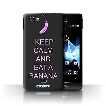 STUFF4 Case/Cover for Sony Xperia Miro/ST23I/Eat a Banana/Pink/Keep Calm