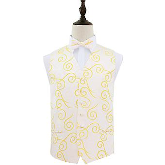 Gold Scroll Patterned Wedding Waistcoat & Bow Tie Set