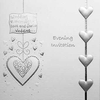 Jean Barrington aften invitationer - sølv hjerter