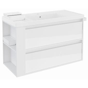 Bath+ Sink cabinet 2 Drawers With Resin White Gloss White 100cm