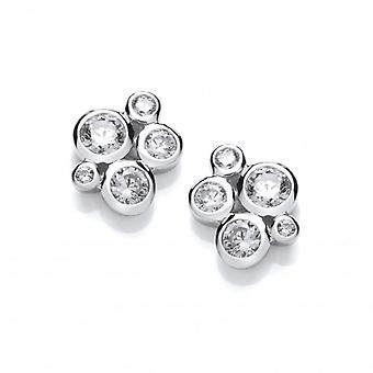 Cavendish French Sterling Silver and CZ Bubble Cluster Earrings