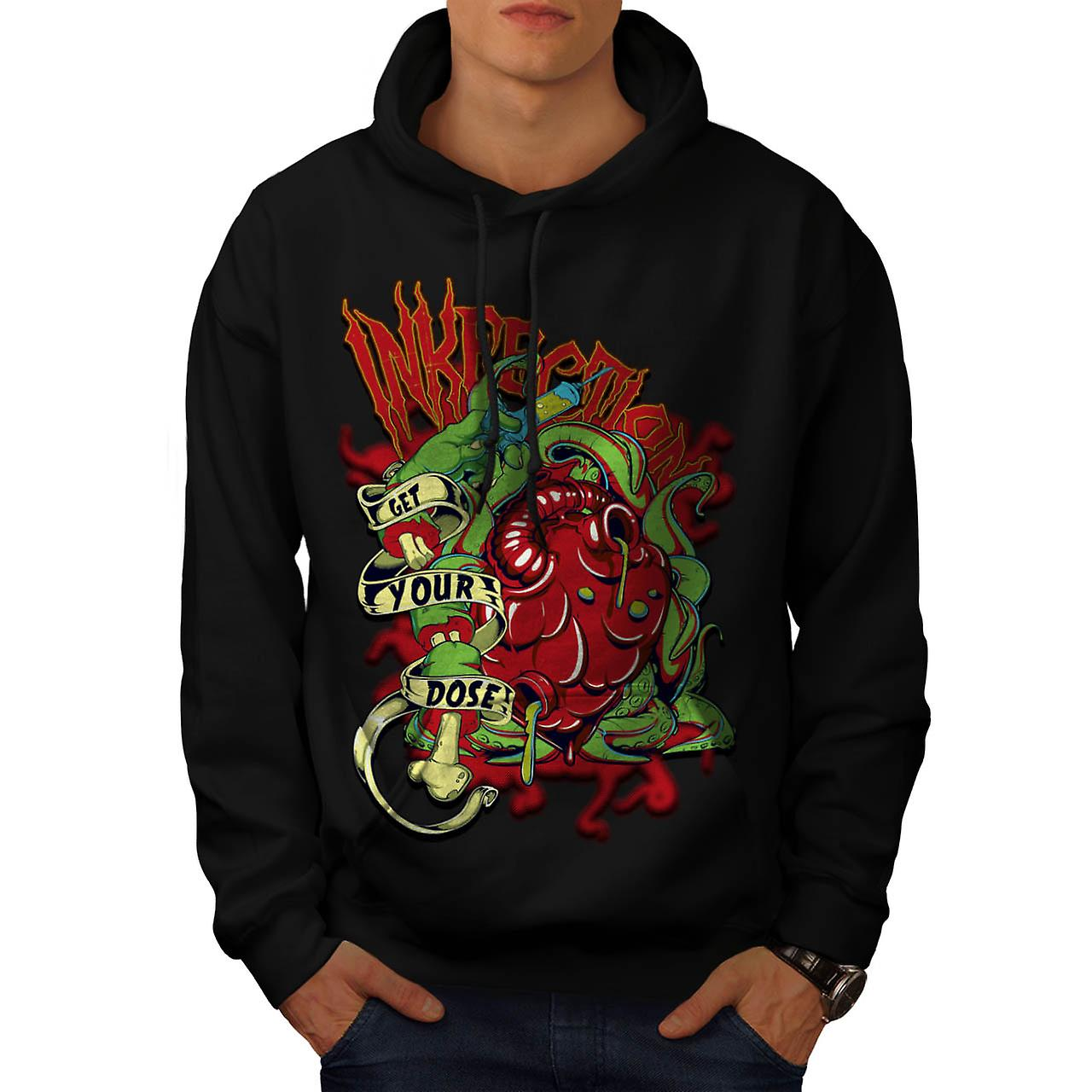Ink Infection Tattoo Death Dose Men Black Hoodie | Wellcoda